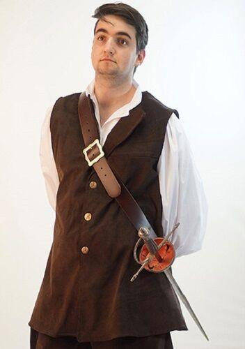 Pirate-Mens-LARP-Cosplay-BUCCANEER WAISTCOAT in Black or Brown Sizes SML-XXXXL