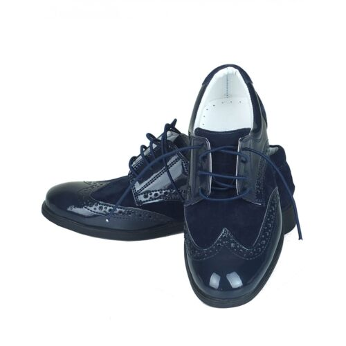 Sirri Boys Formal Navy Blue Suede Patent Brogue Shoes Wedding Page Boy Prom  Kids 12   EU 31