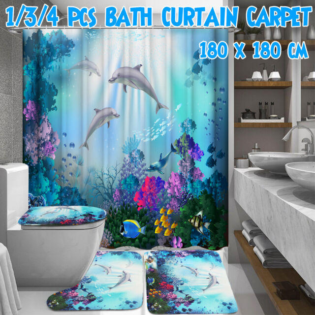 New Dolphin Printing Bathroom Shower Curtain Toilet Cover Mat Non-Slip Rug