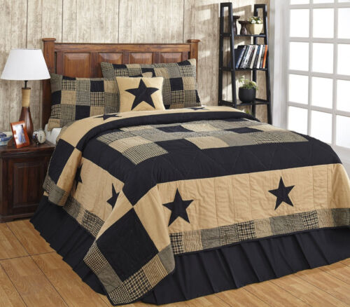 JAMESTOWN BLACK /& TAN 2pc Twin Quilt Set Primitive Farmhouse Patchwork Star