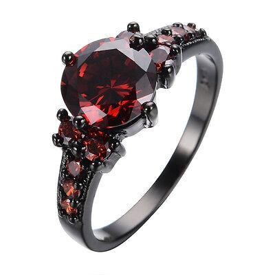 Noble Ruby Rings Gemstone Jewelry Womens 10Kt  Black Gold Filled Wedding Sz 6-10