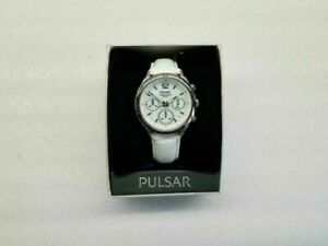 PULSAR CHRONOGRAPH DATE WHITE MOP DIAL WHITE LEATHER WOMEN'S WATCH PT3085 NEW