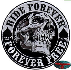RIDE-FOREVER-SKULL-Back-Patch-Rueckenaufnaeher-Aufbuegler-Biker-Rocker-Harley-gross