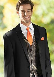 0b7a6405753e 2XL NEW Mossy Oak Camo Tuxedo Vest Orange Long Tie FREE HANKIE ...