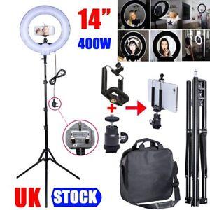 Studio 400W 34cm Photo Video Ring Light + Camera iPhone Holder + 185cm Stand NEW 607111060116