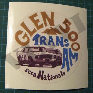 VINTAGE-GLEN-500-SCCA-TRANS-AM-NATIONALS-ROAD-RACING-VINYL-DECAL-STICKER-4-034-ROUND