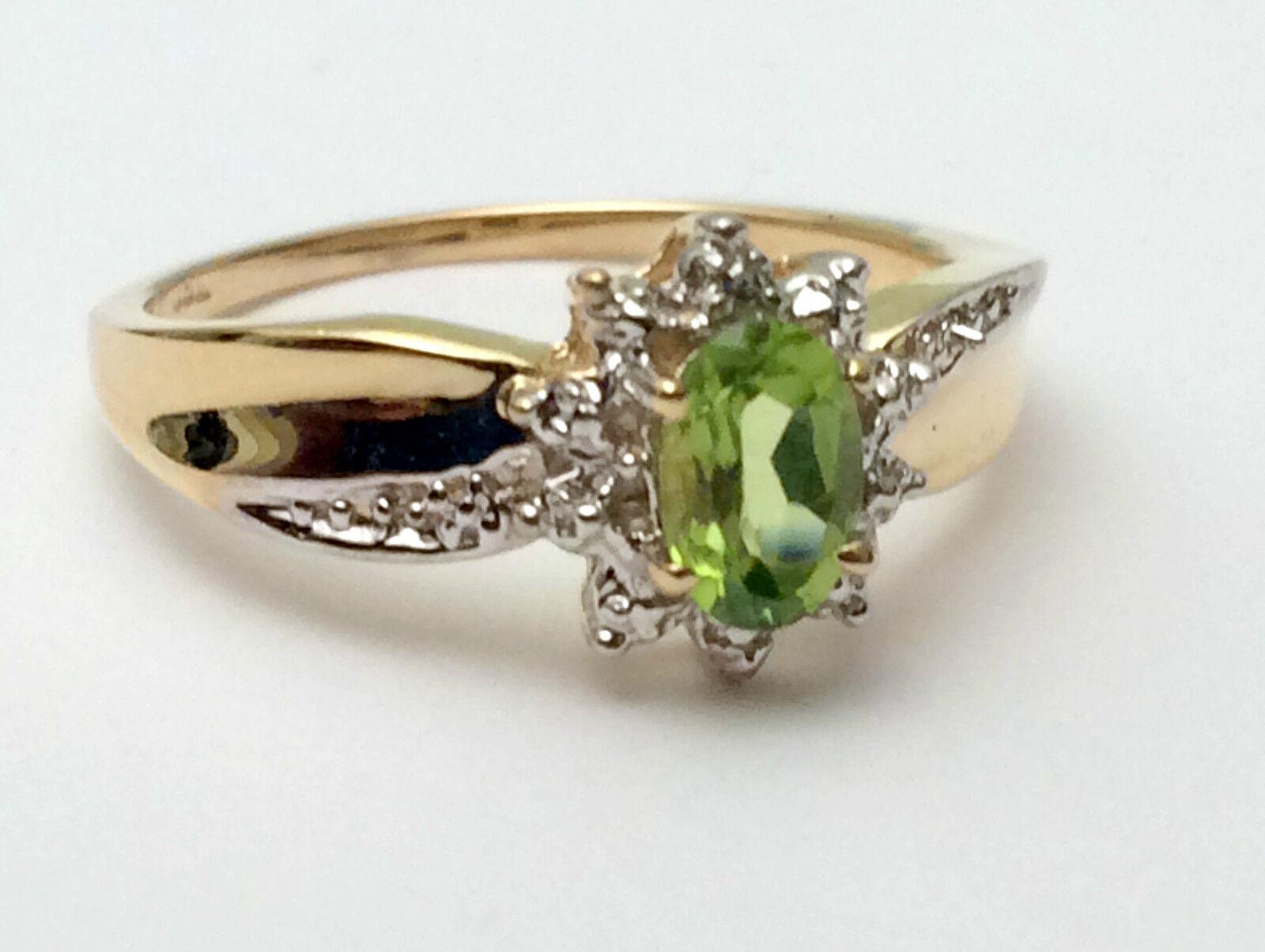 Genuine Birthstone Yellow gold Diamonds Peridot Engagement Wedding Ring August