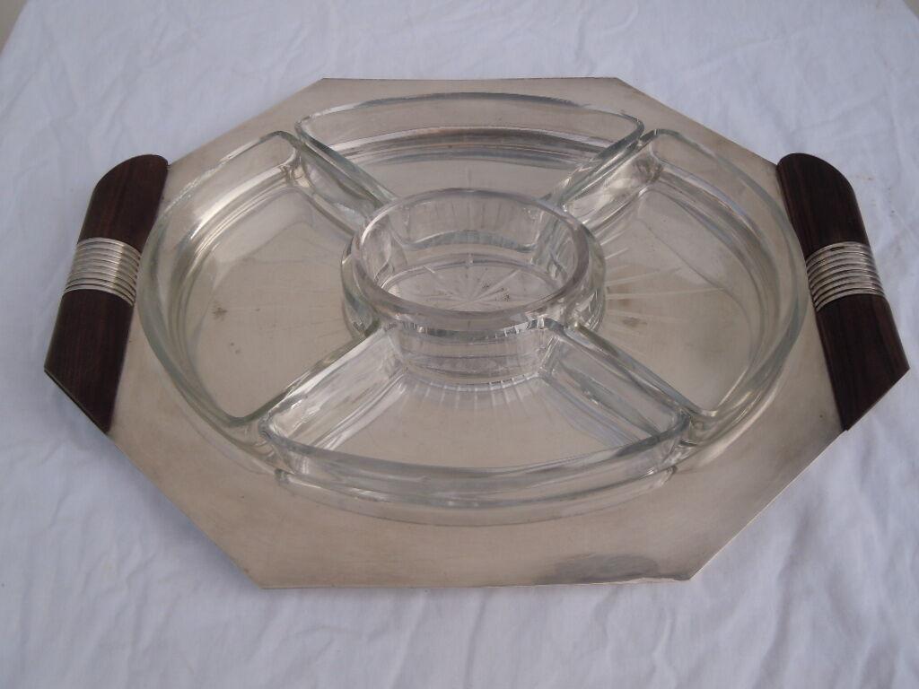 Serviteur de table Silberé plat mendiant plateau époque Art Déco