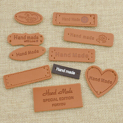 50 pcs Handmade PU Leather Garment Labels Tags for Jeans Bags DIY Sewing Crafts