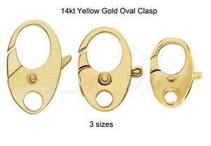 14K-Yellow-Gold-Fancy-Nautical-Oval-Lobster-Jaw-Claw-Trigger-Clasp-Hook-w-Ring