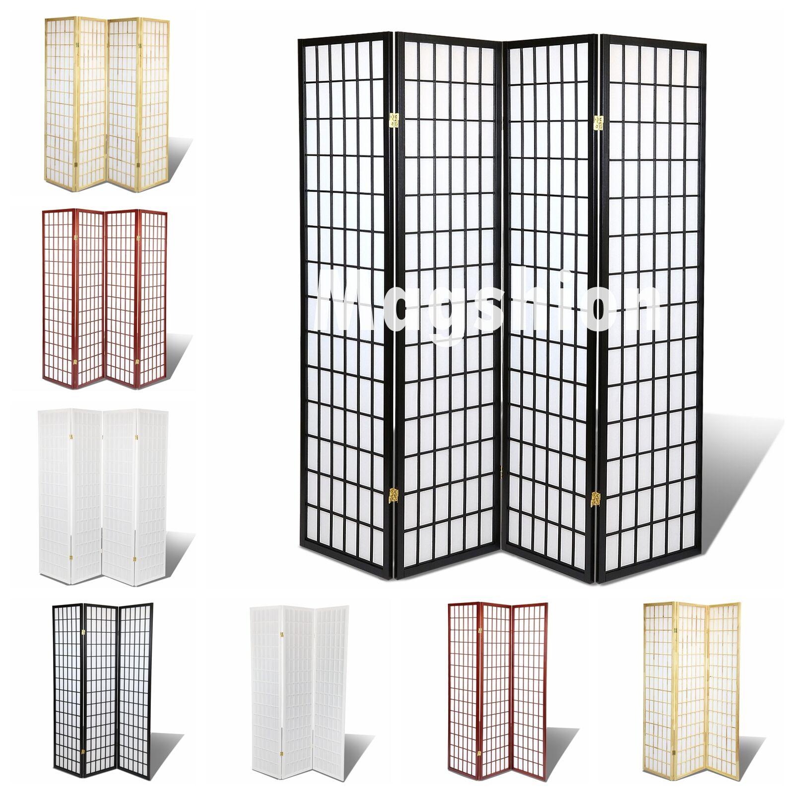 Magshion Oriental Room Divider Hardwood Shoji Screen 4 Panel Blinds Shades-White