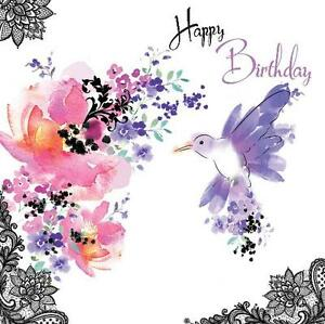 le chic bird flowers design modern female open happy birthday card ebay. Black Bedroom Furniture Sets. Home Design Ideas
