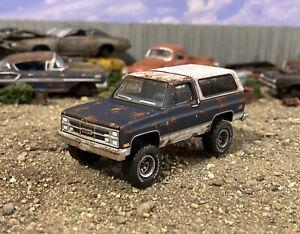 1987 GMC Jimmy 4x4 Rusty Weathered 1/64 Custom Diecast Barn Find Junkyard Truck