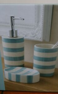 Duckegg Blue White Striped Nautical Bathroom Set New Ebay
