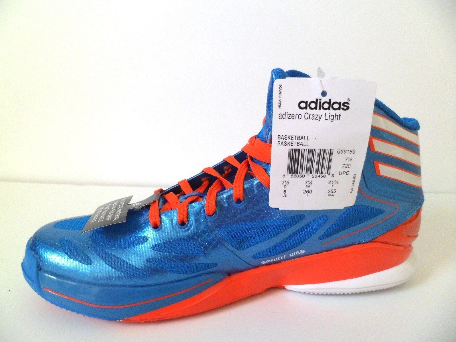 New Adidas Adizero Crazy [G59169] Basketball Bright bluee High Energy Red Sz 8
