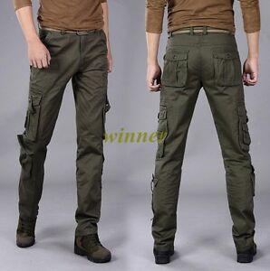 Para Hombres Pantalones Tipo Cargo De Algodon De Combate Camuflaje Militar Camo Pantalon Army Verde Talla Ebay