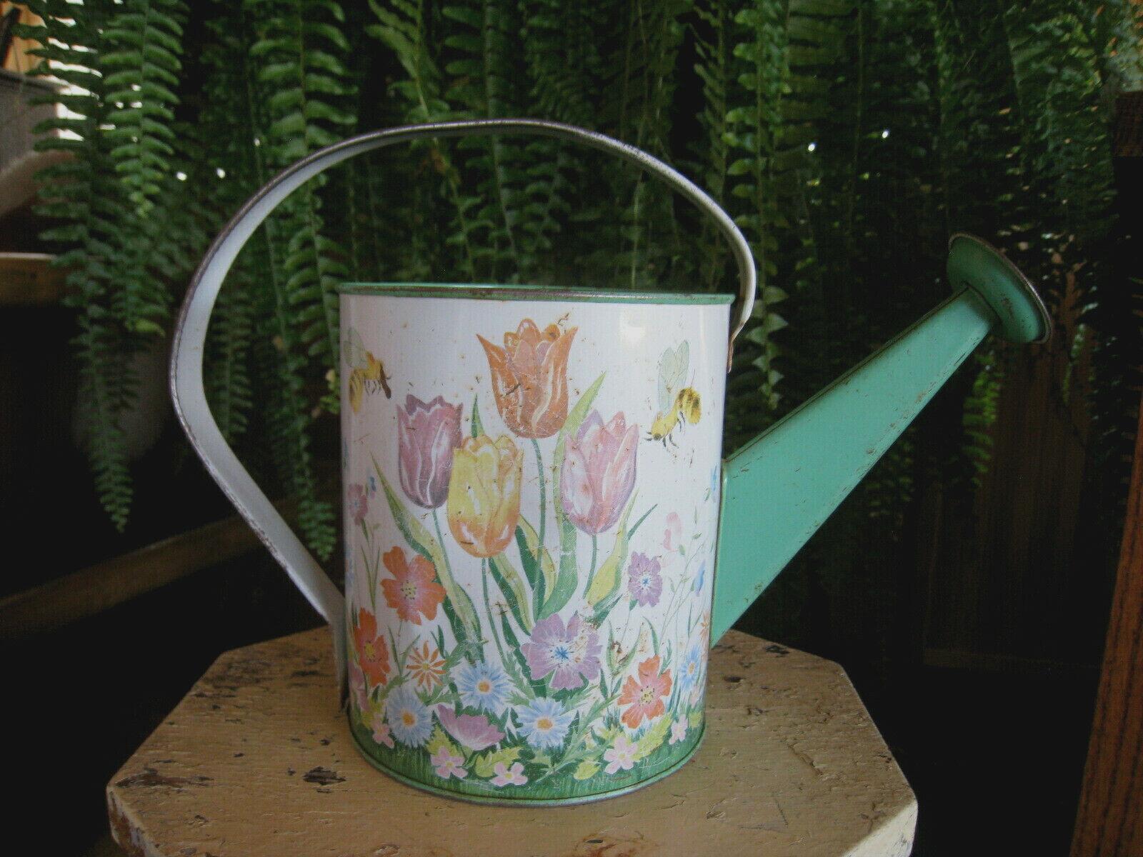 Vintage Ohio Art Kids Watering Can Tulips Bumble Bee