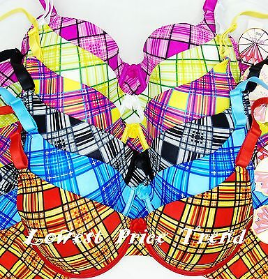 Pack of 6 pcs Straplessable Plaid Demi Bras Lot 36DDD,Underwire BR9638 New 36DDD