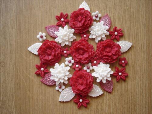19-Ruby Rose Bouquet Comestible Pâte de Sucre Fleurs Tasse Gâteau Décorations Toppers