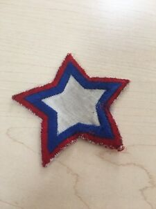 Patch-red-white-blue-star-vintage-3-1-2-034-across-8-1-2-cms-across