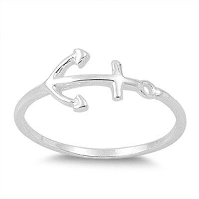 Dainty Sterling Silver Sideways Anchor Ring SIL-1289