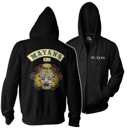 Officially Licensed Mayans M.C Backpatch Zipped Hoodie S-XXL Sizes