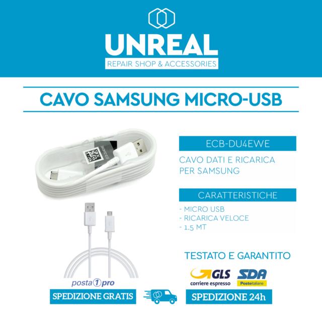 CAVO SAMSUNG CARICABATTERIE ECB-DU4EWE - DATI MICRO USB PER S5 S6 S7 - J5 J6 J7