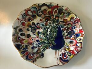 Anthropologie-Peacock-White-collector-s-colorful-8-plate-Starla-Halfmann-design