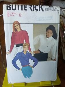 Oop-Butterick-4748-misses-blouse-assymetrical-funnel-collar-sz-12-NEW