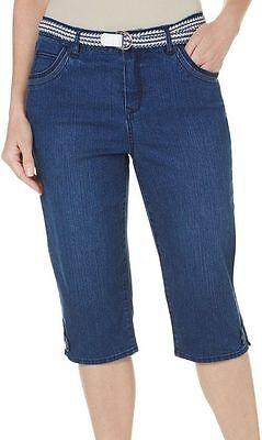Gloria Vanderbilt Denim Belted Lexi Twill Skimmer Capris Pants Sizes 6-16 NEW