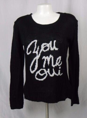 D1-8 NEW Deb Black French /'Jou Me Oui/' Crew Neck Sweater