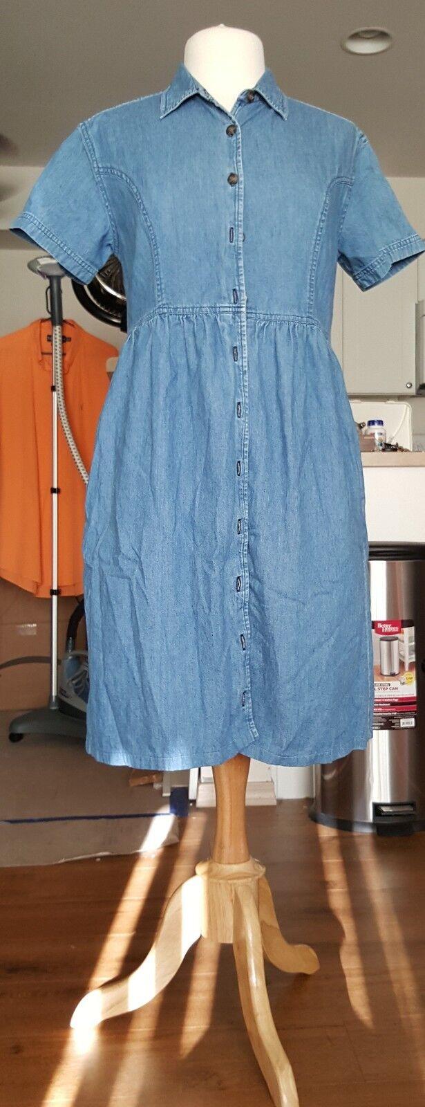 LL BEAN WOMEN'S DENIM jean dress SIZE 10  BUTTON front