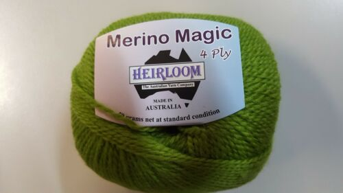 Heirloom Merino Magic 4 Ply #235 Guava Green 100/% Wool