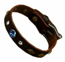 Braided Leather Bracelet Men Wristband Surgical Steel Multicolor Crystals