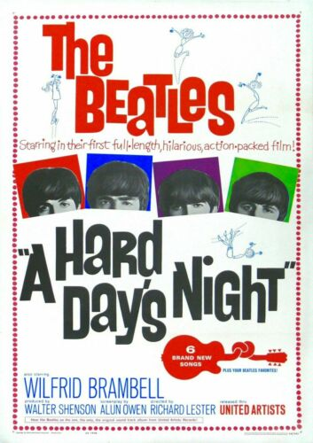 A Hard Days Night The Beatles Music Movie Poster Iron on T-Shirt Transfert A5