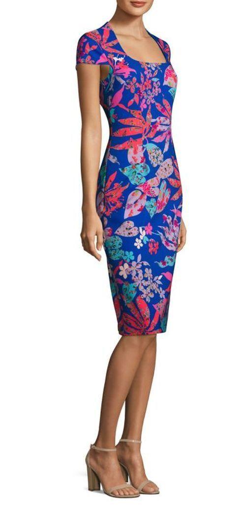NWT David Meister bluee Floral Sheath Dress