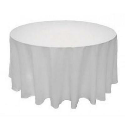 90 Inches Round Table Tablecloths Polyester Wedding Event Cover Banquet White