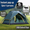 Double Layer Pop Up Large Camping Tent Up to 4 Person Outdoor Waterproof Shelter