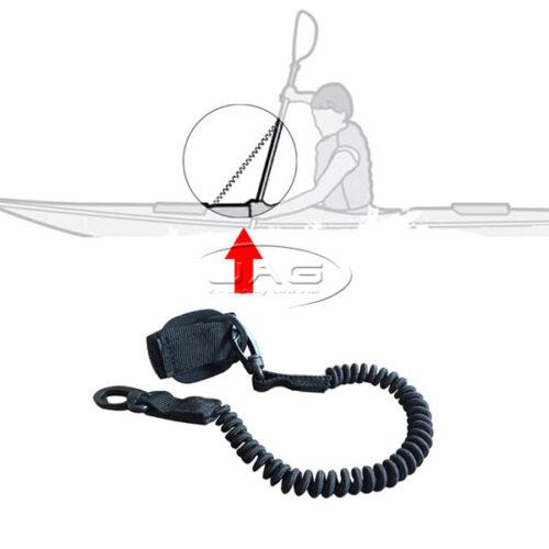 AQUATRACK DELUXE BLACK KAYAK PADDLE LEASH Canoe//SUP//Fishing Rod Coiled Lanyard