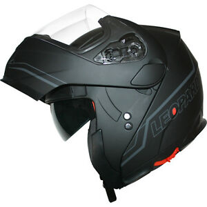 Leopard Leo-838 DVS Modular Flip up Front Motorbike Motorcycle Helmet Sun Visor Black L