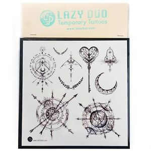 Moon Tattoo Compass Temporary Tattoos Tiny Heart Tattoo Key Tattoo