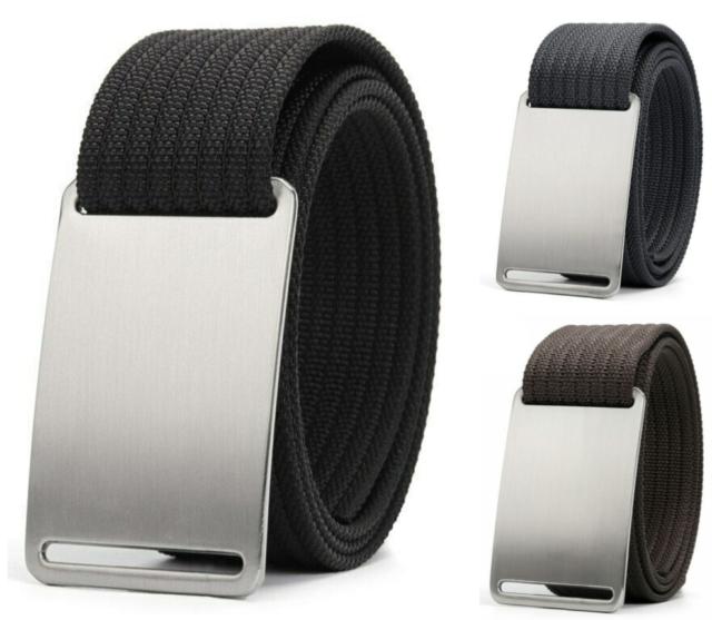 Men Women Casual Canvas Plain Webbing Waist Belt Adjustable Buckle Webbing M-XL
