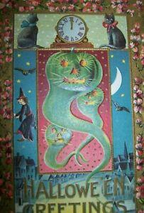 Vintage-Halloween-Postcard-Embossed-Bats-Goblins-Spooky-2171-Gottschalk-Original