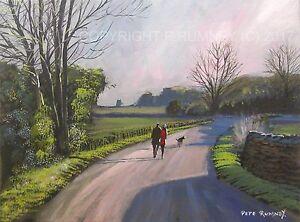 Pete-Rumney-Art-Original-Canvas-Painting-Country-Road-Evening-Walks-FineArt