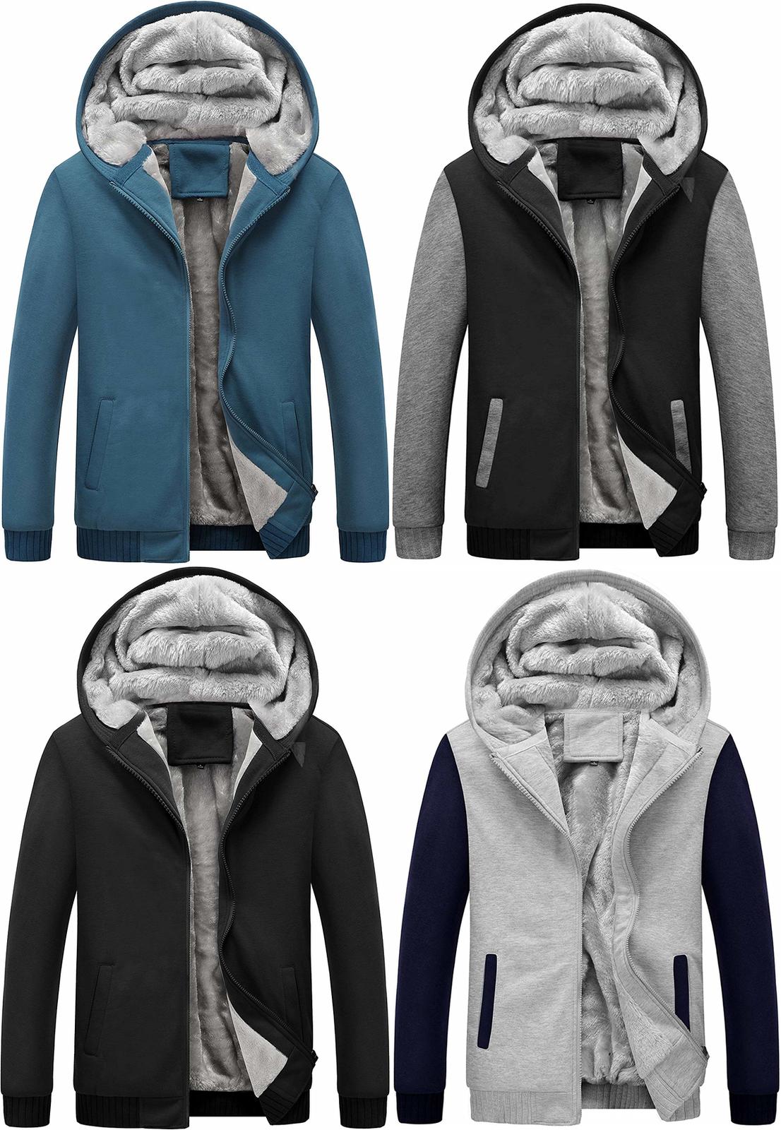 Springrain Mens Winter Sherpa Fleece Lined Full Zip Hoodie Sweatshirt Jacket