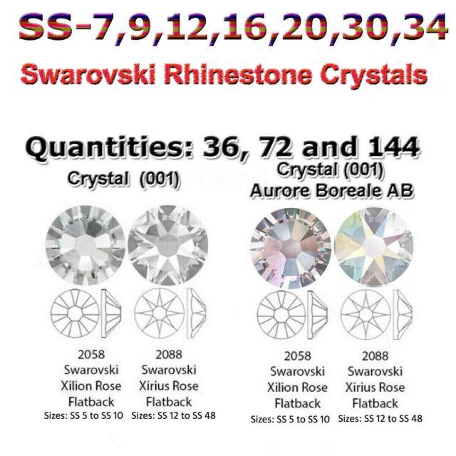001 1440 SWAROVSKI GENUINE 2028 FLATBACK HOTFIX CLEAR CRYSTAL SS10,12,16,20