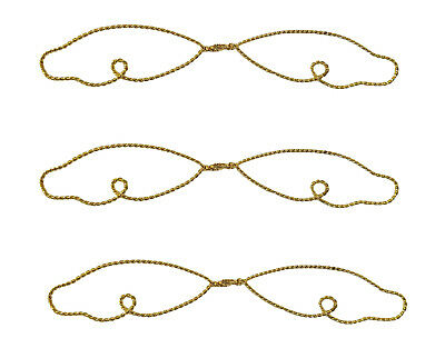 """3 Pair 6 """" Twisted Metallo Oro Filo Angelo Ali Per Artigianato Bambola Ornamento Non-Stireria"""