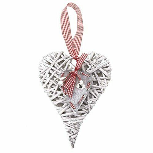 Rustic Grey Wicker Heart Decoration with Red /& White Gingham Check  Ribbon Bow