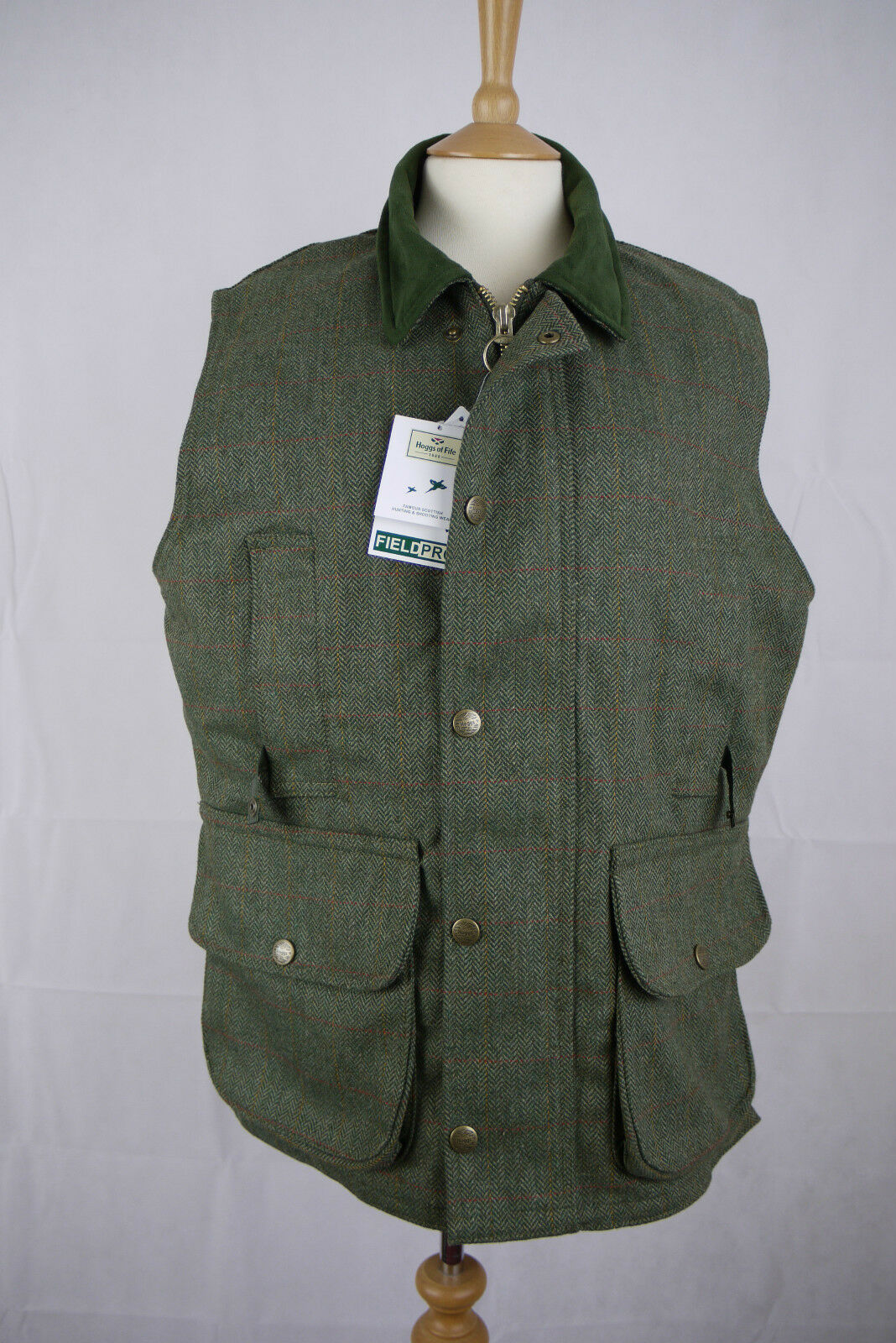 Hoggs Edinburgh Green Tweed Waistcoat - Size Small