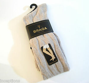 e1775087c8771 Braga Italy Ladies OVER Knee Socks Merino Wool Cashmere Blend Cable ...